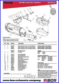 Silencieux Bos Desert Fox Carbone Honda Crf 1000 L Africa Twin 2016- 1640210cs